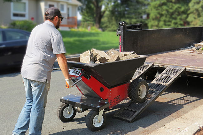 Motorized Wheelbarrow for Landscaping, Demolition and Cement Work