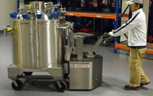 Stainless Steel PowerTug moving 2,000Kg Pharmaceutical mixing vessel