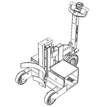 Adjustable attachment for lifting and  moving rolls of materials